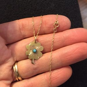 14k clover charm - Turquoise blue color stone